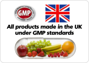 All products made in the UK under GMP standards